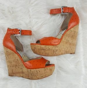 Michael Kors Ostrich Leather Wedges